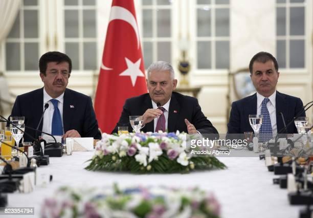 Turkish Prime Minister Binali Yildirim EU Minister of Turkey Omer Celik and Turkish Economy Minister Nihat Zeybekci meet with German executives...