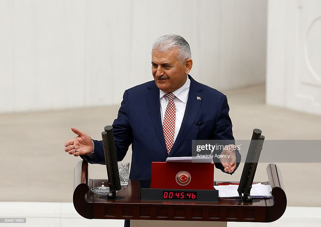 Turkish Prime Minister Binali Yildirim gestures as he presents the Turkeys 65th government's program to the Grand National Assembly of Turkey (TBMM) in Ankara, Turkey on May 24, 2016.