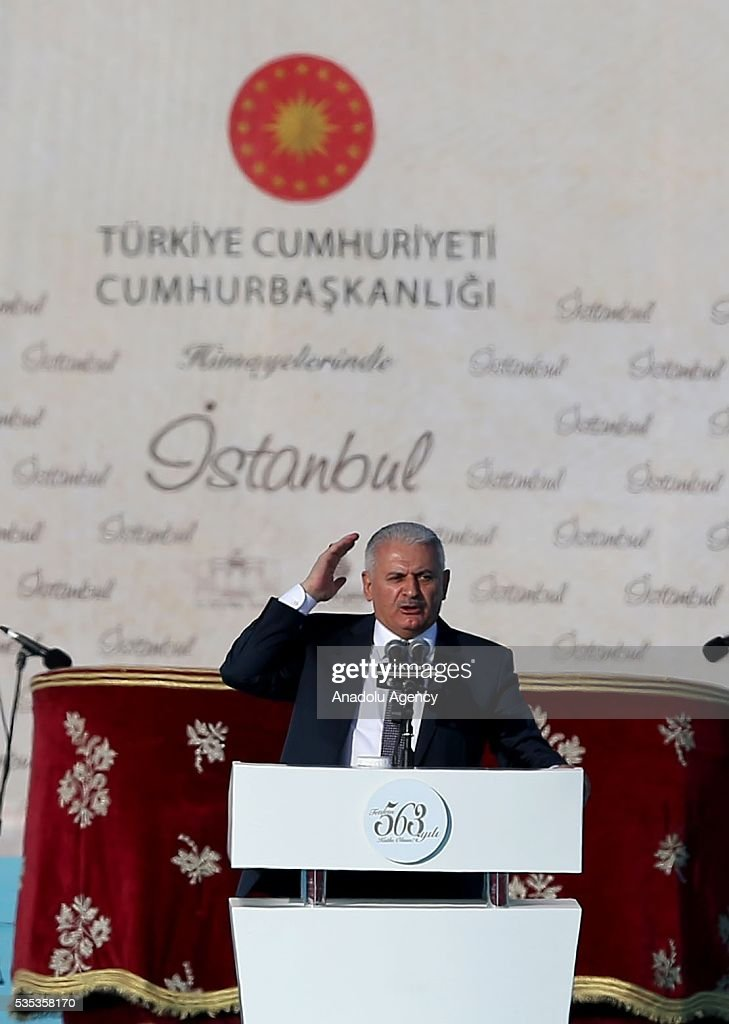 Turkish Prime Minister Binali Yildirim (C) gives a speech during the celebrations of the 563rd anniversary of Istanbuls conquest by Turks at Yenikapi Event Area in Istanbul, Turkey on May 29, 2016. On May 29, 1453, Ottoman Sultan Mehmed II (Mehmet the Conqueror) conquered Istanbul, then called Constantinople, from where the Byzantines had ruled the Eastern Roman Empire for more than 1,000 years. The conquest transformed the city, once the heart of the Byzantine realm, into the capital of the new Ottoman Empire.