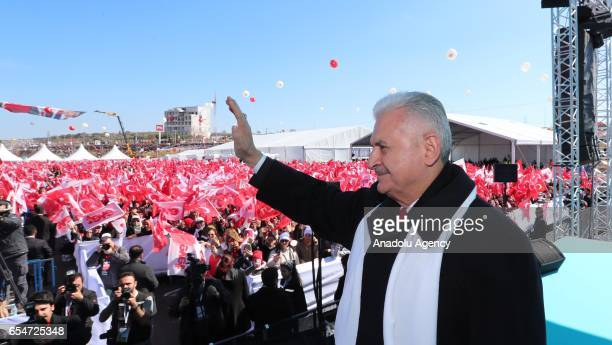 Turkish Prime Minister Binali Yildirim greets a crowd during groundbreaking ceremony of Canakkale 1915 Bridge and MalkaraCanakkale highway in...