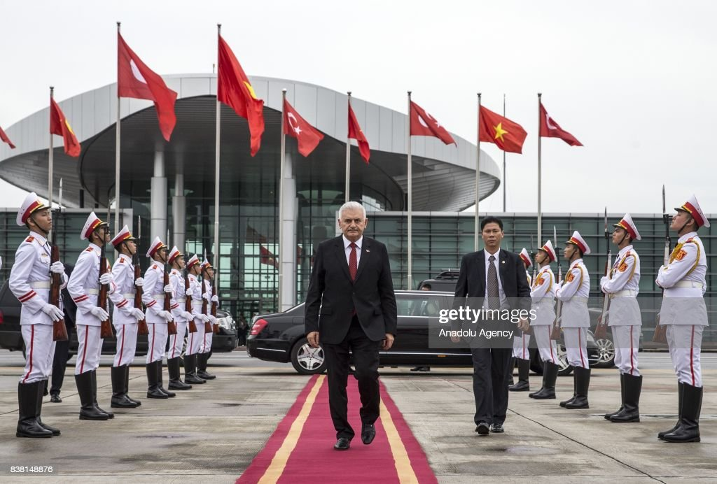 Turkish Prime Minister Binali Yildirim (C) is seen on the farewell ceremony as he departs from Vietnam to Turkey during his official visit, on August 24, 2017 in Hanoi, Vietnam.