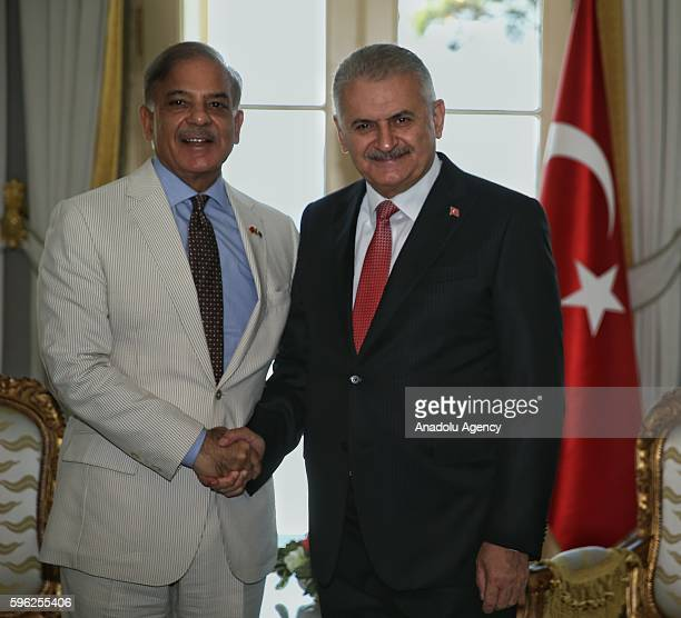 Turkish Prime Minister Binali Yildirim meets Chief Minister of Punjab Shehbaz Sharif in Istanbul at Vahdettin Mansion in Istanbul Turkey on August 27...