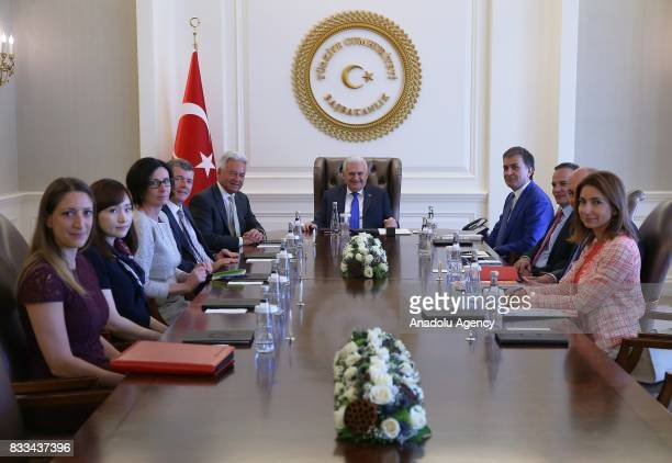 Turkish Prime Minister Binali Yildirim meets with United Kingdom Foreign Office Minister Alan Duncan with the participation of Minister for European...