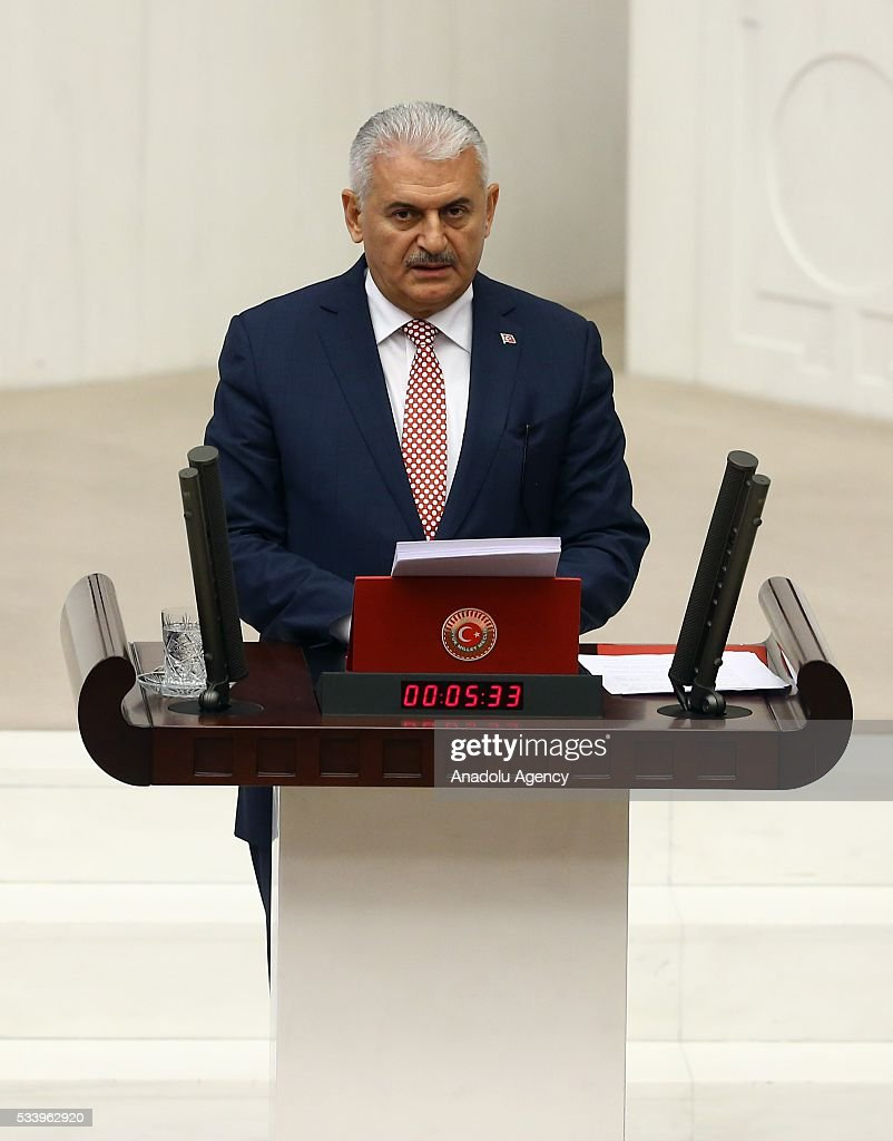 Turkish Prime Minister Binali Yildirim presents the Turkeys 65th government's program to the Grand National Assembly of Turkey (TBMM) in Ankara, Turkey on May 24, 2016.