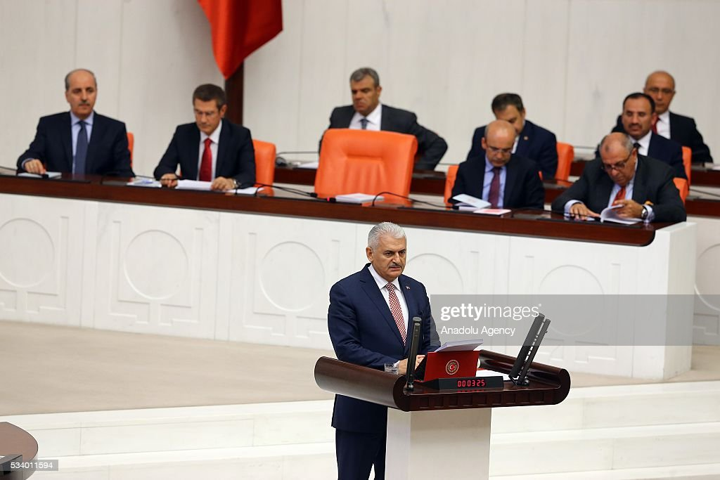 Turkish Prime Minister Binali Yildirim presents the Turkeys 65th government's program to the Grand National Assembly of Turkey (TBMM) in Ankara, Turkey on May 24, 2016.