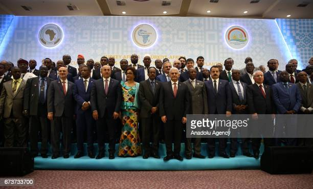 Turkish Prime Minister Binali Yildirim Somalian President Mohamed Abdullahi Mohamed President of Guinea Alpha Conde Turkey's Minister of Food...