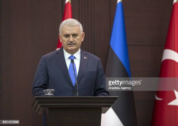 Turkish Prime Minister Binali Yildirim speaks during a joint press conference with Estonian Prime Minister Juri Ratas after their meeting at Cankaya...