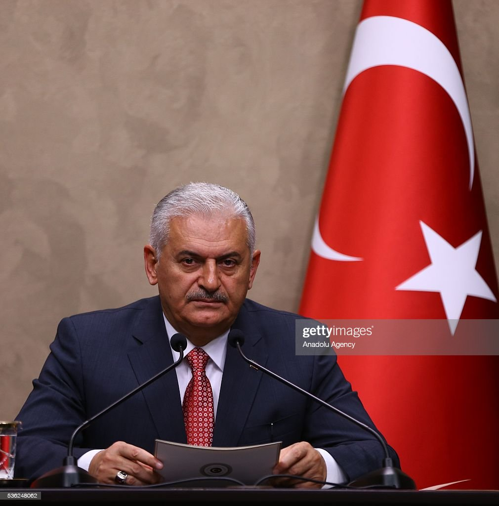 Turkish Prime Minister Binali Yildirim speaks during a press conference at Esenboga International Airport ahead of his Turkish Republic of Northern Cyprus (TRNC) visit on June 01, 2015 in Ankara, Turkey.