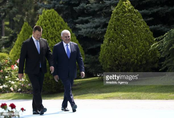 Turkish Prime Minister Binali Yildirim welcomes Estonian Prime Minister Juri Ratas with an official ceremony prior to their meeting at Cankaya Palace...
