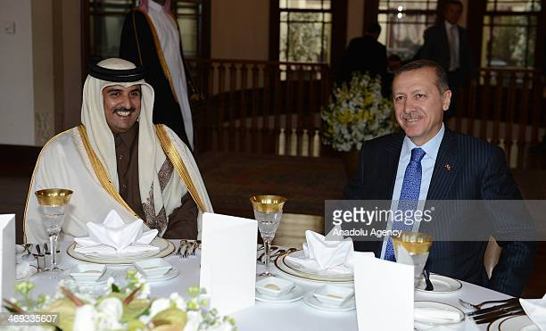 Turkish Prime Minister Recep Tayyip Erdogan and Emir of the State of Qatar Sheikh Tamim bin Hamad Al Thani meet at the Adile Sultan Palace in...