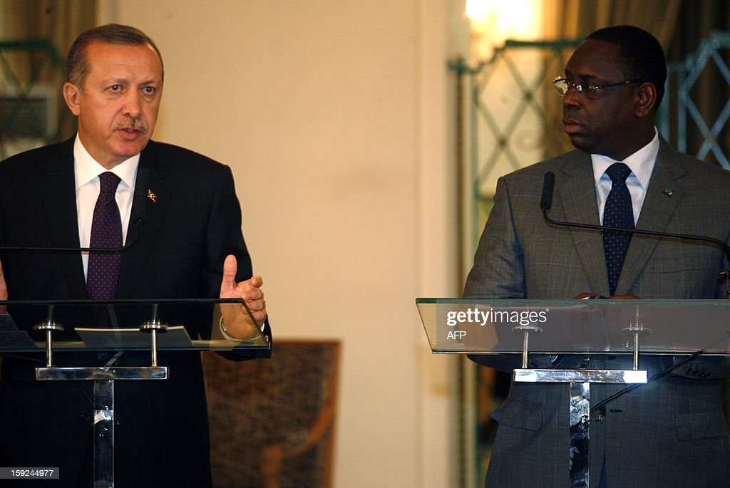 Turkish Prime Minister Recep Tayyip Erdogan (L) and Senegalese president Macky Sall (R) give a press conference after their meeting on January 10, 2013 in Dakar. Erdogan is on the second day of his visit to Senegal, part of a three-African-country tour.