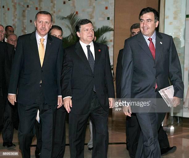 Turkish Prime Minister Recep Tayyip Erdogan European Commission President Portuguese Jose Manuel Barroso and Georgian President Mikheil Saakashvili...