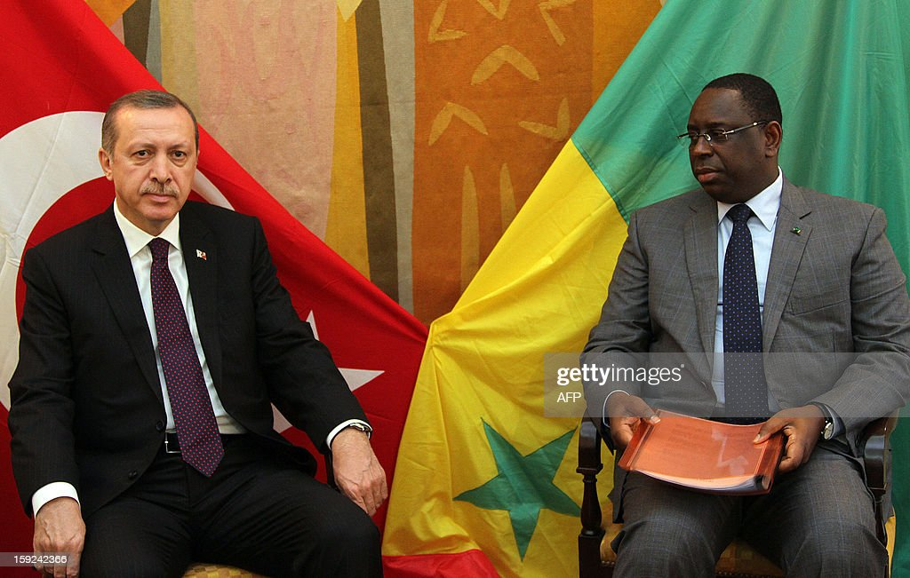 Turkish Prime Minister Recep Tayyip Erdogan (L) meets Senegalese president Macky Sall (R) on January 10, 2013 in Dakar. Erdogan is on the second day of his visit to Senegal, part of a three-African-country tour.