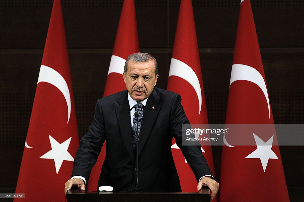 Turkish Prime Minister Recep Tayyip Erdogan receives foreign children who are in Turkey for the TRT 36th International 23rd April Children's Festival...
