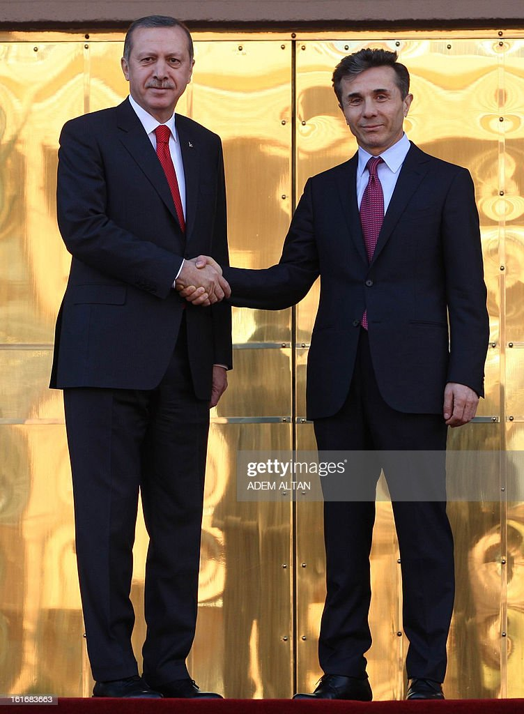 Turkish Prime Minister Recep Tayyip Erdogan (L) shakes hands with his Georgian counterpart Bidzina Ivanishvili during a ceremony in Ankara on February 14, 2013.