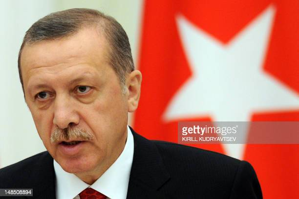 Turkish Prime Minister Recep Tayyip Erdogan speaks during a press conference after their meeting to discuss differences on Syria as UN Security...