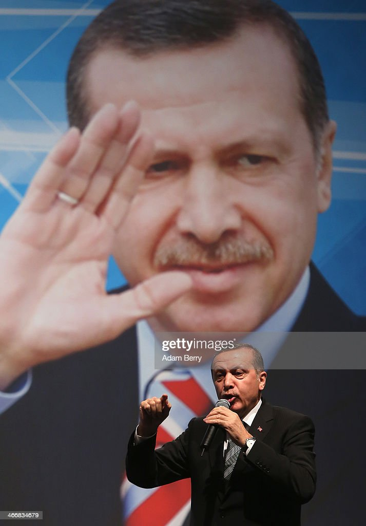 Turkish Prime Minister <a gi-track='captionPersonalityLinkClicked' href=/galleries/search?phrase=Recep+Tayyip+Erdogan&family=editorial&specificpeople=213890 ng-click='$event.stopPropagation()'>Recep Tayyip Erdogan</a> speaks to supporters at a rally at Tempodrom hall on February 4, 2014 in Berlin, Germany. Turkey will soon face parliamentary elections and Erdogan is vying for the votes of expatriate Turks. Berlin has the highest Turkish population of any city outside of Turkey.