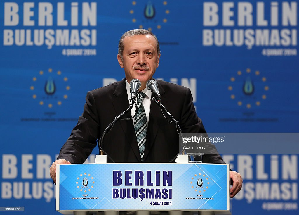 Turkish Prime Minister Recep Tayyip Erdogan speaks to supporters at a rally at Tempodrom hall on February 4, 2014 in Berlin, Germany. Turkey will soon face parliamentary elections and Erdogan is vying for the votes of expatriate Turks. Berlin has the highest Turkish population of any city outside of Turkey.