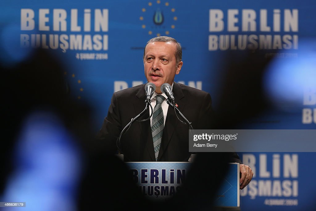Turkish Prime Minister Recep Tayyip Erdogan speaks to supporters at a rally at Tempodrom hall on February 4 2014 in Berlin Germany Turkey will soon...