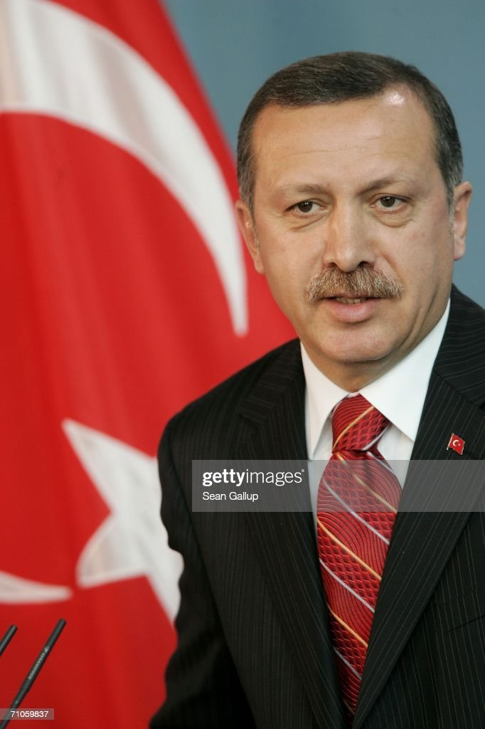 Turkish Prime Minister Recep Tayyip Erdogan speaks to the media after talks with German Chancellor Angela Merkel May 26 2006 at the Chancellery in...