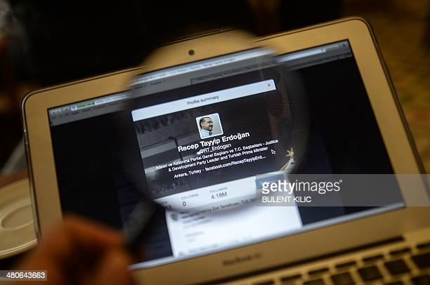 Turkish Prime Minister Recep Tayyip Erdogan's twitter account is seen on a computer screen on March 26 2014 in Istanbul A Turkish court on Wednesday...