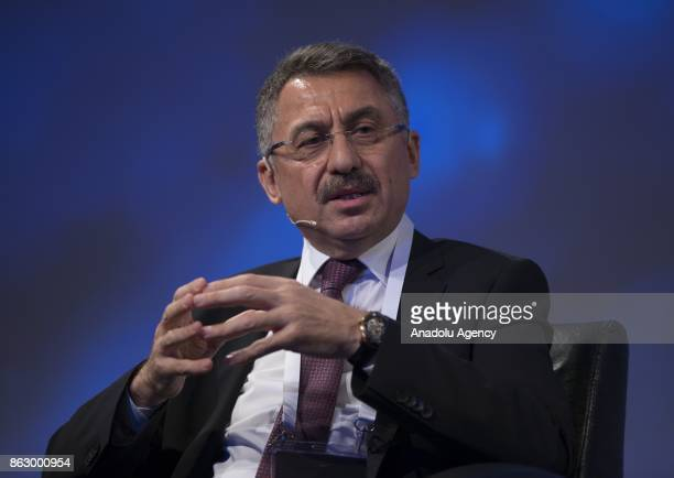Turkish Prime Ministry Undersecretary Fuat Oktay makes a speech during the 'Humanitarian Aid' panel within TRT World Forum in Istanbul Turkey on...