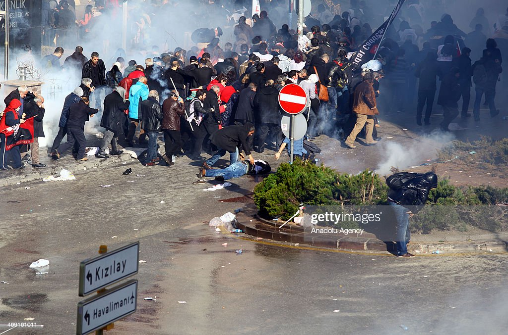 Turkish riot polices fire teargas to disperse protestors in Kzlay square during the demand of release the prisoners who are under the arrest the...