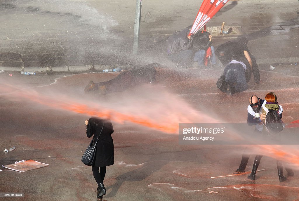 Turkish riot polices use water cannon to disperse protestors in Kzlay square during the demand of release the prisoners who are under the arrest the...