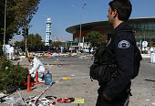 Turkish security forces and forensic police inspect the blast site after an explosion during a peace march in Ankara October 10 2015 Turkey At least...