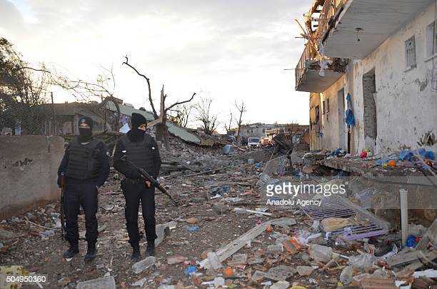 Turkish security forces take security measures after PKK terrorists car bomb attack targeting to Cinar Police department in Diyarbakir Turkey on...
