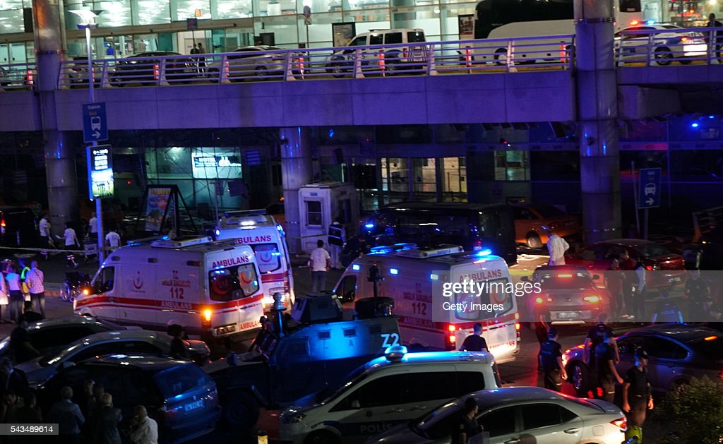 Turkish security officers and ambulances gather outside Turkey's largest airport, Istanbul Ataturk, after it was hit by a suicide bomb attack on June 28, 2016, Turkey. Three suicide bombers opened fire before blowing themselves up at the entrance to the main international airport in Istanbul, killing at least 28 people and wounding at least 60 people according to Justice Minister Bekir Bozdagç.