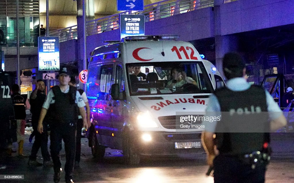 Turkish security officers and ambulances outside Turkey's largest airport, Istanbul Ataturk, after it was hit by a suicide bomb attack on June 28, 2016, Turkey. Three suicide bombers opened fire before blowing themselves up at the entrance to the main international airport in Istanbul, killing at least 28 people and wounding at least 60 people according to Justice Minister Bekir Bozdagç.