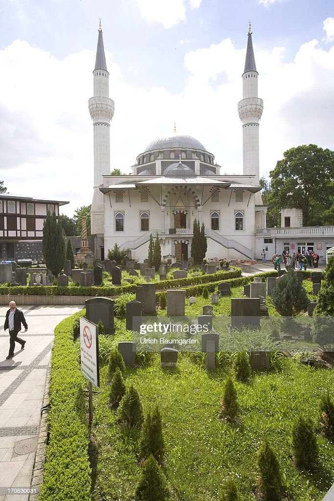 Turkish Sehitlik mosque with the graveyard in the district Neukoelln on May 27, 2013 in Berlin, Germany.
