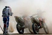Turkish Selcuk Bektas reacts during the stage 2 of the Dakar 2015 between Carlos Paz and San Juan Argentina on January 5 2015 AFP PHOTO / FRANCK FIFE