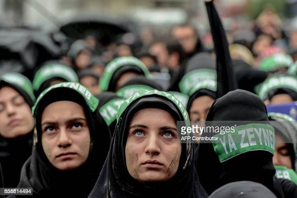 TOPSHOT Turkish Shiite women take part in a religious procession held for the Shiite religious holiday of Ashura on September 30 in Istanbul Ashura...