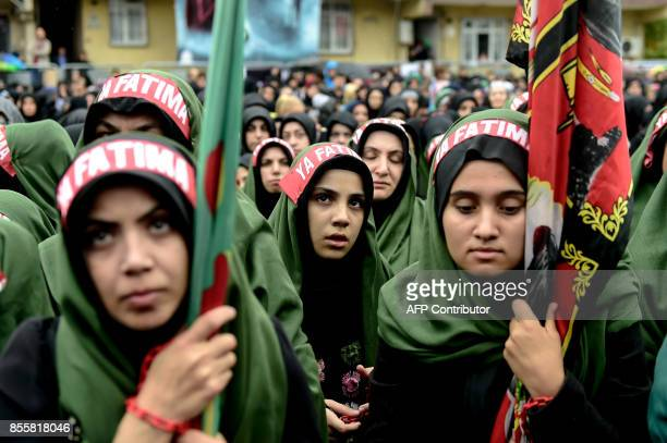 Turkish Shiite women take part in a religious procession held for the Shiite religious holiday of Ashura on September 30 in Istanbul Ashura...