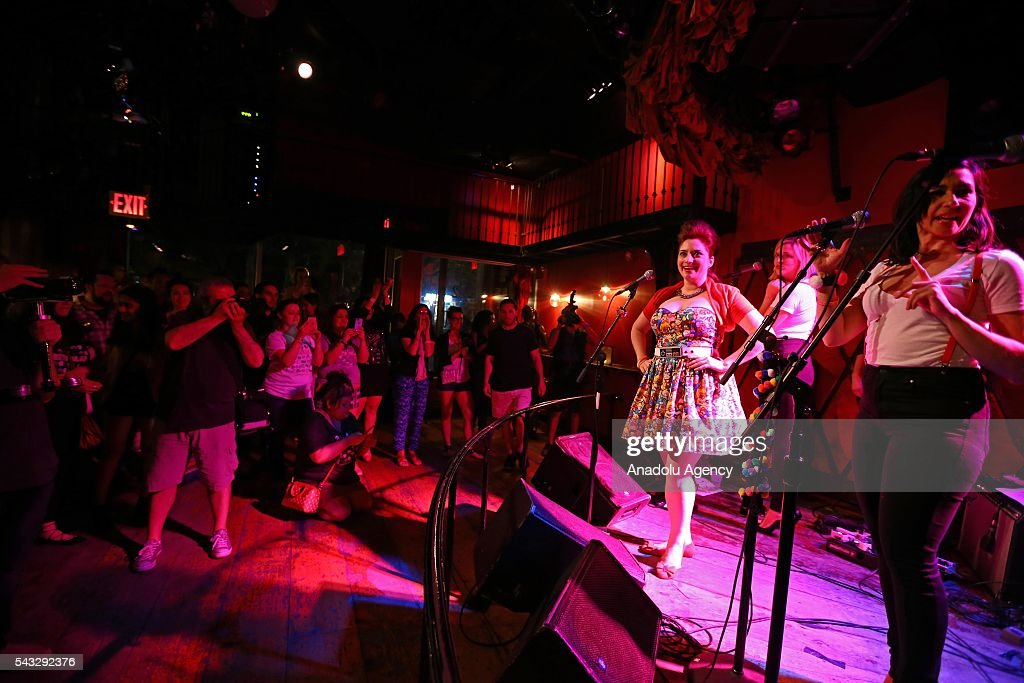 Turkish singer Sinem Saniye, who lives in the United States, performs on the stage to present her new album 'Let's Play' at the Rockwood Music Hall in New York on June 27, 2016.