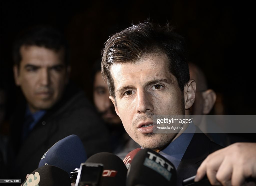 Turkish soccer team Fenerbahce's team captain <a gi-track='captionPersonalityLinkClicked' href=/galleries/search?phrase=Emre+Belozoglu&family=editorial&specificpeople=649491 ng-click='$event.stopPropagation()'>Emre Belozoglu</a> speaks to the media as he leaves from historical Yildiz Palace after he attended a reception, held by Turkey's President Recep Tayyip Erdogan, in Istanbul, Turkey on April 12, 2015. Turkey's Football top-liners, including President of the Turkish Football Federation Yildirim Demiroren, Turkish Union of Clubs president Goksel Gumusdag, Turkish National Soccer Team's head coach Fatih Terim and Turkish Super League team's captains attended to the reception.