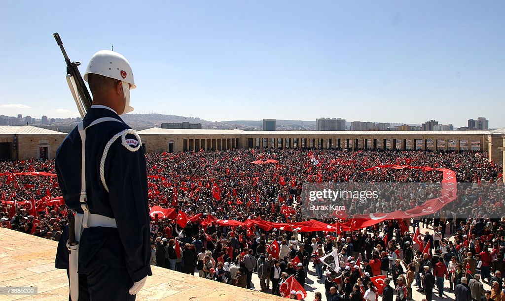 A Turkish soldier stands guard during a rally against Turkish Prime Minister Tayyip Erdogan's possible candidacy to the presidency on April 14, 2007, in Ankara, Turkey. Secularists in this mainly Muslim country fear that if Erdogan became president an Islamic agenda will be implemented without opposition.