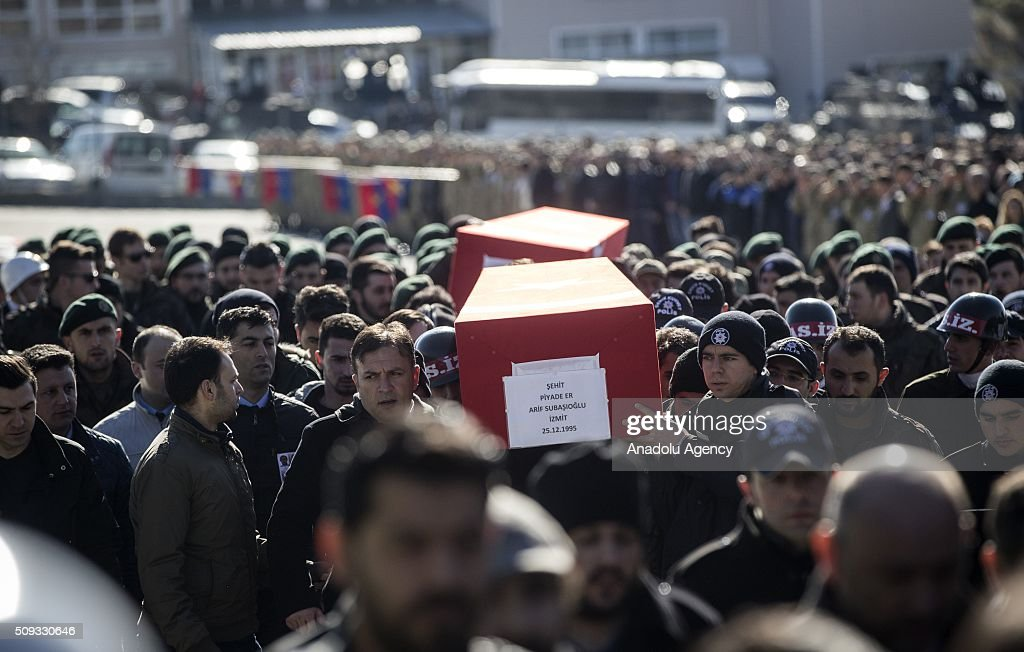 Turkish Soldiers and people carry the coffins of Special operation police officer Osman Yurt, Police officer Mehmet Gungordu, Infantry Vedat Dolancay and Arif Subasioglu, who were martyred during an anti terror operation against PKK in Sirnak's Cizre, during a funeral ceremony at the 23. Border Division commandership of Gendarme forces in Sirnak, Turkey on February 10, 2016.