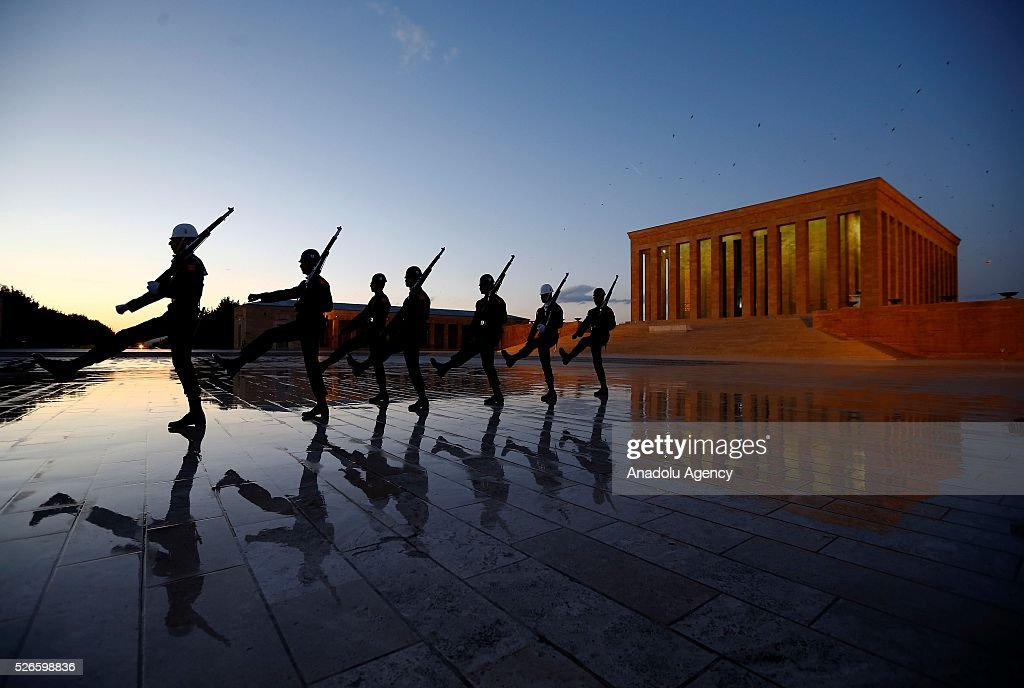 Turkish soldiers are seen at Anitkabir, mausoleum of Mustafa Kemal Ataturk, founder of the Republic of Turkey, in Ankara, Turkey on April 30, 2016.