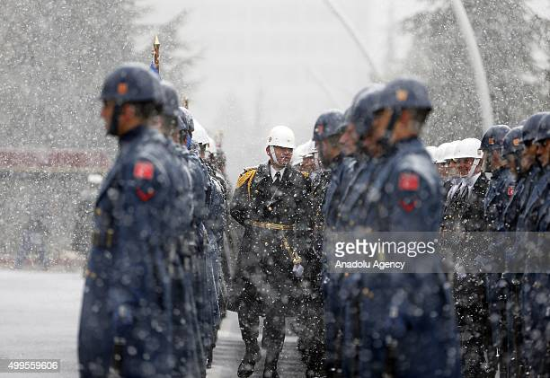 Turkish soldiers are seen during a heavy snowfall before Commander of Kosovo Security Force Rrahman Rama meets Chief of the General Staff of the...