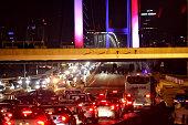 Turkish soldiers block Istanbul's Bosphorus Bridge on July 15 2016 in Istanbul Turkey Istanbul's bridges across the Bosphorus the strait separating...