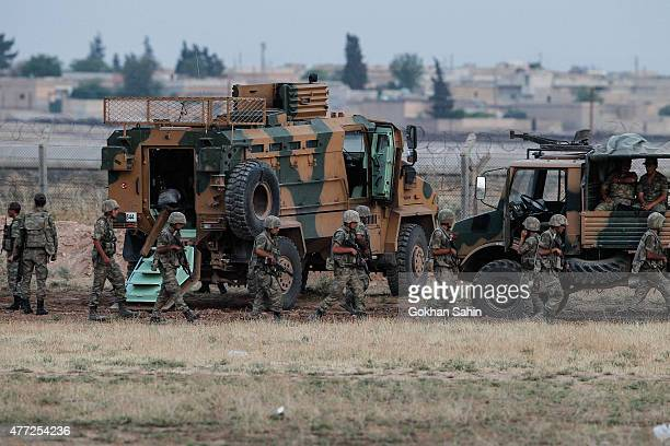 Turkish soldiers patrol the the Turkish border town of Akcakale in Sanliurfa province Turkey June 15 2015 Members of the Syrian Kurdish YPG militia...
