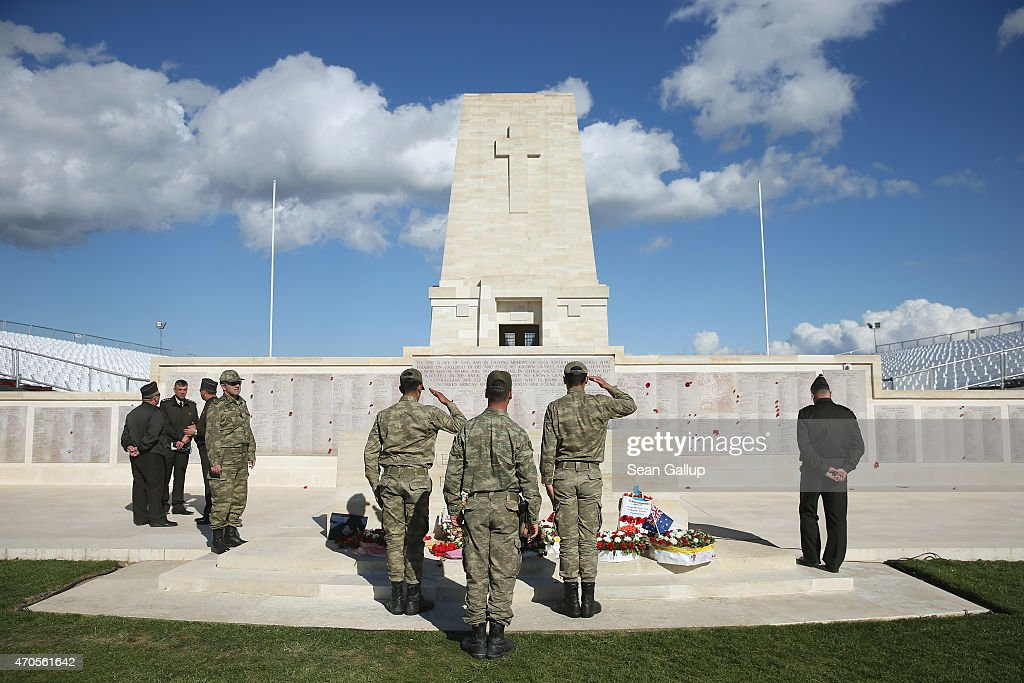Turkish soldiers rehearse a wreathlaying ceremony at the Lone Pine monument to Australian soldiers killed during the Gallipoli Campaign ahead of...