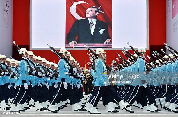 Turkish soldiers take part in a parade during a ceremony marking the 92nd anniversary of Republic Day on October 29 2015 at the Ataturk Cultural...