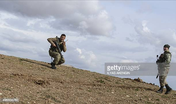 Turkish soldiers take position during an operation against Kurdistan Workers Party on November 10 in Silvan southeastern Turkey Turkish warplanes...