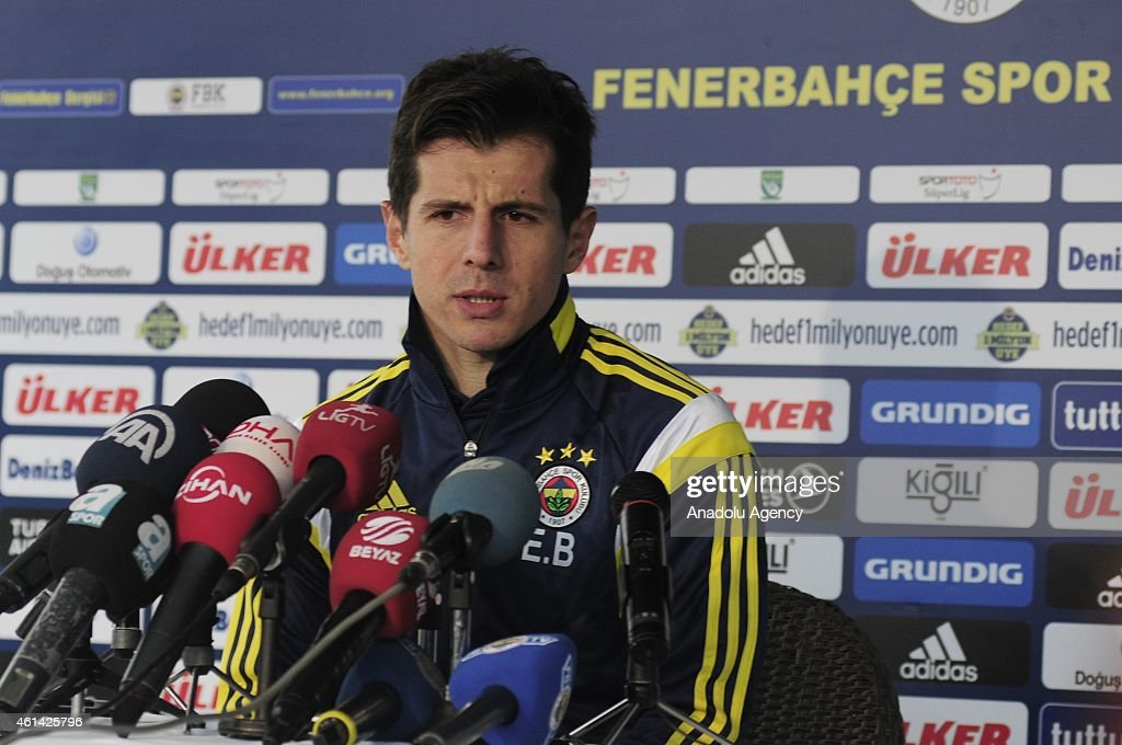 Turkish Spor Toto Super League's soccer team Fenerbahce's captain <a gi-track='captionPersonalityLinkClicked' href=/galleries/search?phrase=Emre+Belozoglu&family=editorial&specificpeople=649491 ng-click='$event.stopPropagation()'>Emre Belozoglu</a> gives a speech within a press release during his team's ongoing training camp in Turkey's southern touristic seaside city Antalya on Jannuary 12, 2015.