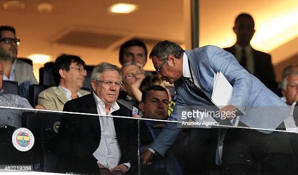 Turkish sports club Fenerbahces president Aziz Yildirim seen ahead of the UEFA Champions League 3rd qualifying round match between Fenerbahce and...
