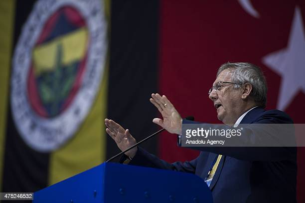 Turkish sports club Fenerbahces president Aziz Yildirim speaks during the clubs general assembly in Istanbul Turkey on May 30 2015